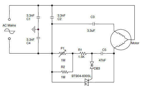 Speed control circuit for a small asynchronous induction AC motor