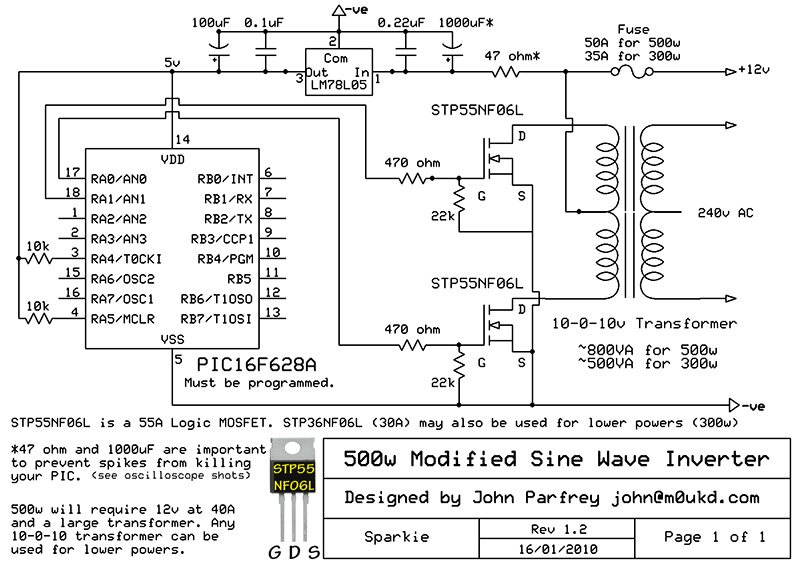 Inverter 12V to 220V schematics free electronic circuits diagram ...