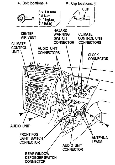 Acura RL (1996 2004) Center Dashboard Removal acura radio panel removal replacement instructions diagram dash acura rsx bose amplifier wiring diagram at panicattacktreatment.co