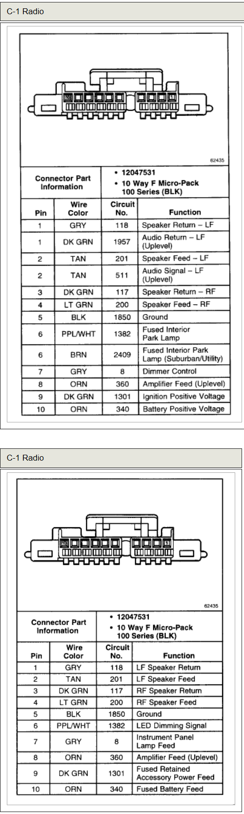 Chevrolet Tahoe LS 2000 stereo wiring connector 2 chevrolet car radio stereo audio wiring diagram autoradio Wiring Harness Diagram at beritabola.co