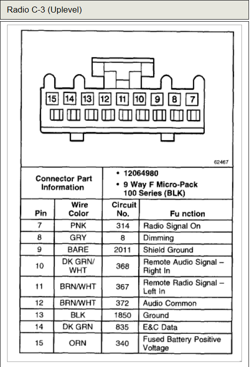Chevrolet Tahoe LS 2000 stereo wiring connector 4 2007 silverado wiring diagram 2007 uplander wiring diagram \u2022 free  at gsmportal.co