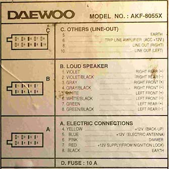 daewoo car radio stereo audio wiring diagram autoradio connector wire installation schematic schema esquema de conexiones stecker konr connecteur cable