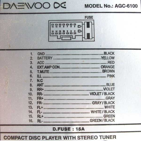 daewoo car radio stereo audio wiring diagram autoradio connector daewoo akf 8055x