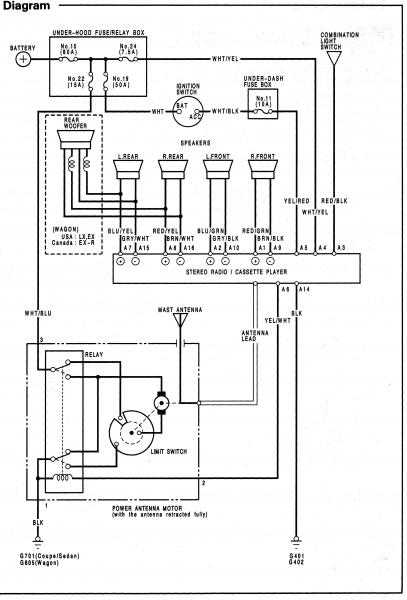 Honda 1994 Accord EX stero wiring connector 2 acura rsx stereo wiring diagram acura rsx power steering \u2022 wiring wiring schematics for 2001 honda accord at virtualis.co