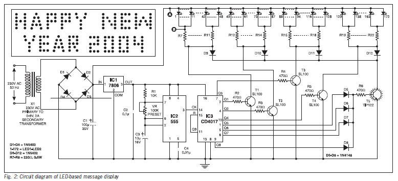 "led message display circuit diagram total of 172 leds have been arranged to display the message ""happy new year 2004 "" for word h fig 2 circuit diagram of led based message display"