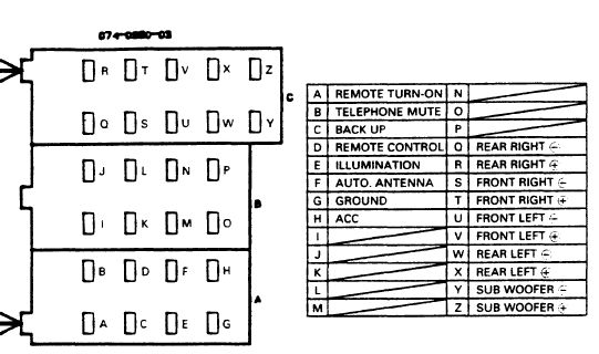Land Rover Clarion PU 9836A stereo wiring connector clarion cz109 wiring diagram clarion car stereo wiring diagram db345mp clarion wiring diagram at bakdesigns.co
