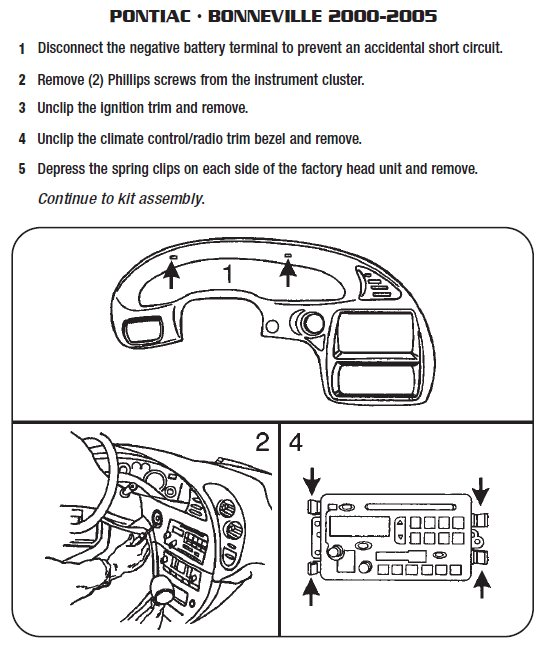 Pontiac Bonneville 2000 2005 stereo removal installation 2001 pontiac sunfire rear turn signal wire harness pontiac 2003 pontiac aztek fuel pump wiring diagram at n-0.co