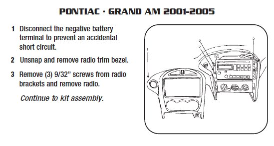 Pontiac grand Am 2001 2005 stereo removal installation radio wiring diagram for 2004 pontiac sunfire pontiac wiring 2006 Pontiac Grand Prix Radio Wiring Diagram at aneh.co