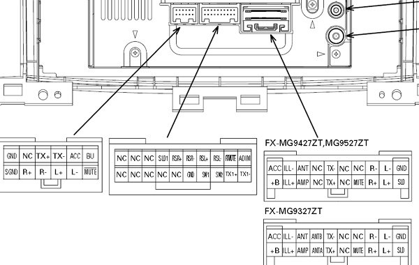 Toyota FX MG9327 FX MG9427ZT FX MG9527MT car stereo wiring diagram connector harness pinout toyota car radio stereo audio wiring diagram autoradio connector toyota land cruiser wiring diagrams 100 series at soozxer.org