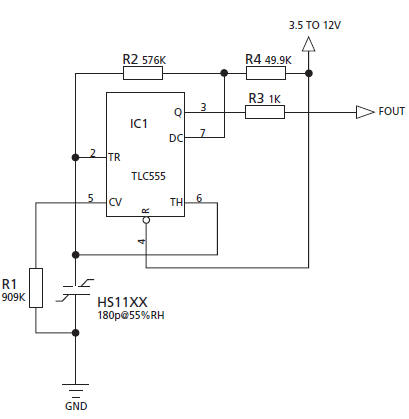 Moisture Sensor on rotary switch schematic