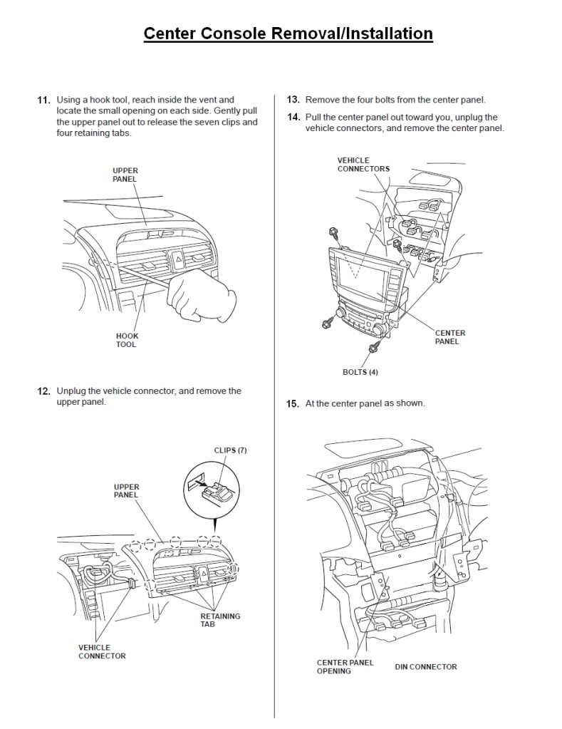 Car Radio Stereo Audio Wiring Diagram Autoradio Connector Wire 2006 Acura Tsx Speaker Tl Panel Removal Center Console Installation Replacement Instructions