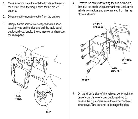 Acura Radio Panel Removal Replacement Instructions Diagram Dash - 2005 acura tl dashboard replacement