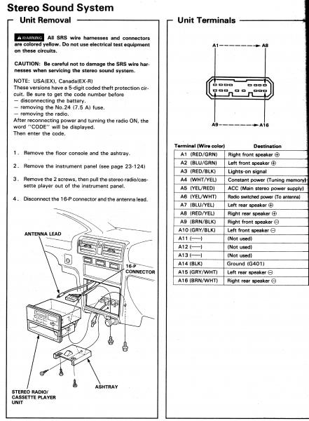 Honda 1994 Accord EX stero wiring connector honda jazz audio wiring diagram wiring diagram and schematic design 2004 Ford Explorer Stereo Wire Harness at aneh.co