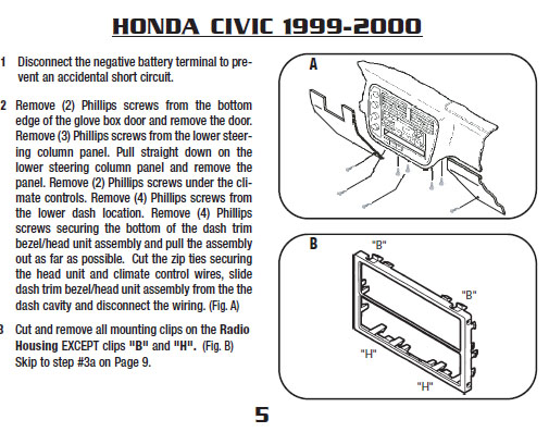 Honda Civic Car Stereo Dashboard Panel Removal Diagram