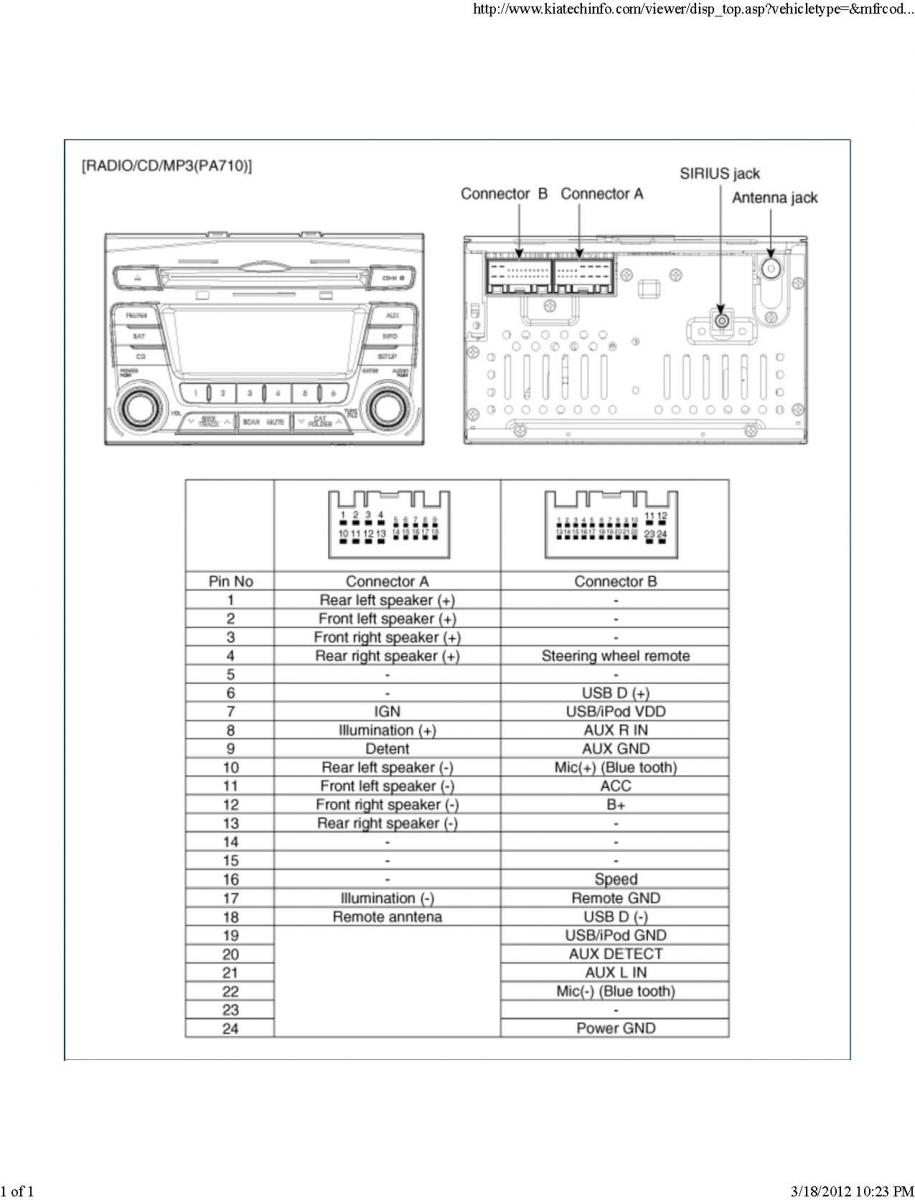 Kia Car Radio Stereo Audio Wiring Diagram Autoradio Connector Wire Color Installation Schematic Schema Esquema De Conexiones Stecker Konektor Connecteur Cable