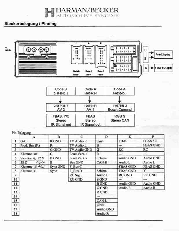 Mercedes Benz Command Harman Becker car stero wiring diagram connector pinout TV Tuner mercedes car radio stereo audio wiring diagram autoradio connector