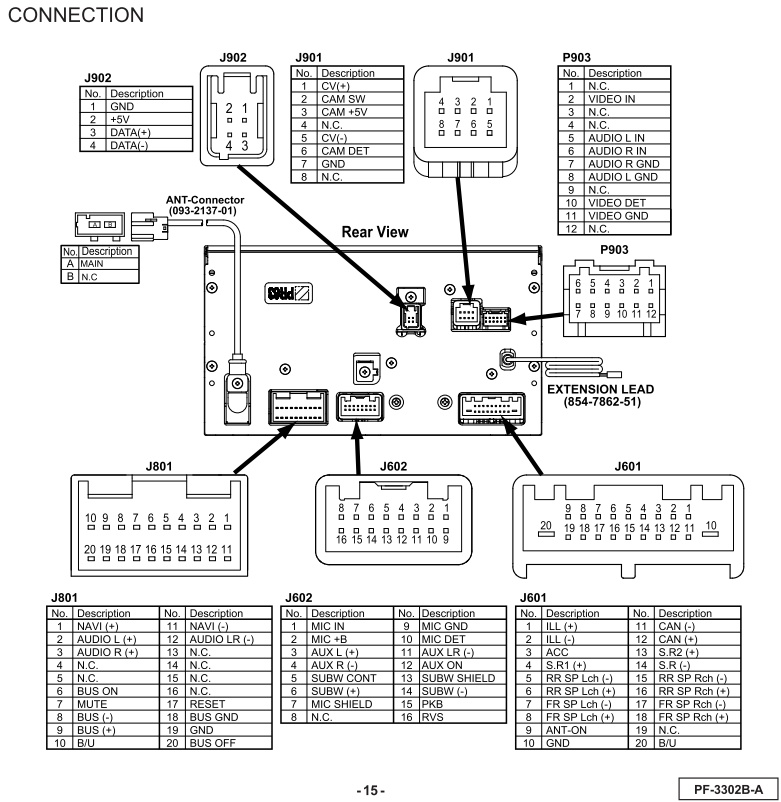 Subaru Forester 2011 CP635U1 PF 3302B A wiring connector clarion head unit wiring diagram wiring diagram and schematic design nissan stereo wiring diagram at bayanpartner.co