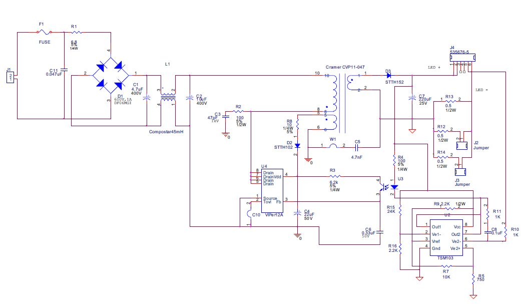 White Led Driver Constant Current Isolated Offline Circuit
